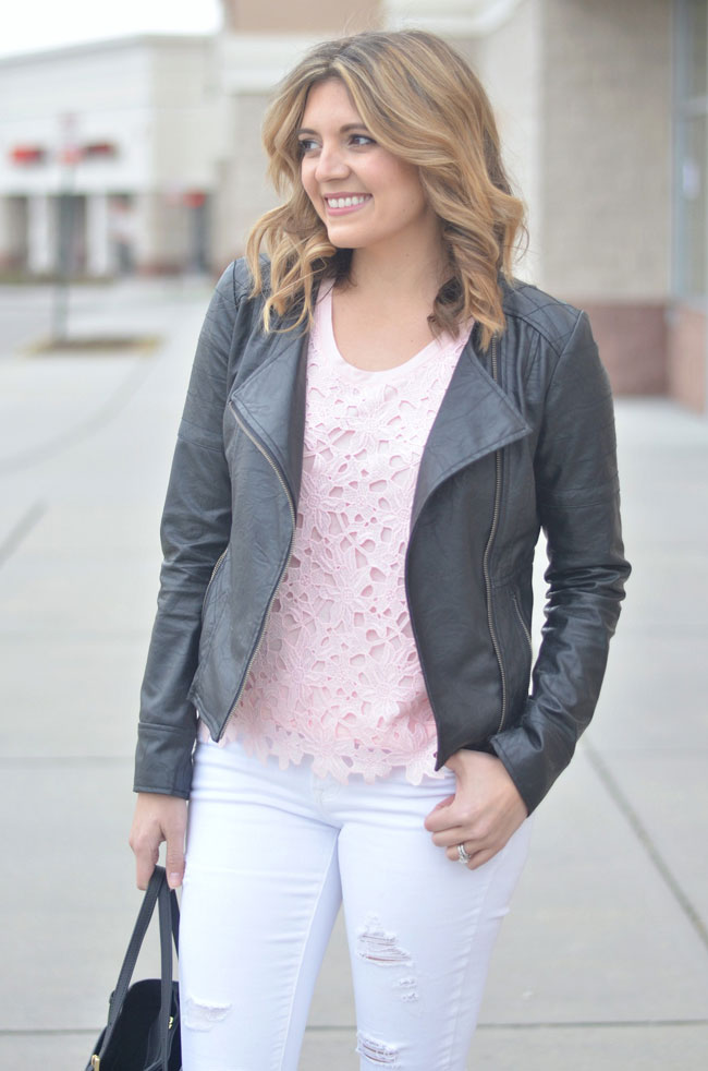 mix feminine and edgy pieces - leather moto jacket, lace tee | www.fizzandfrosting.com