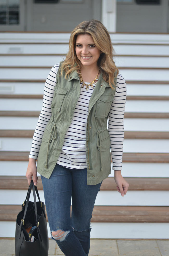 army vest with striped tee | www.fizzandfrosting.com