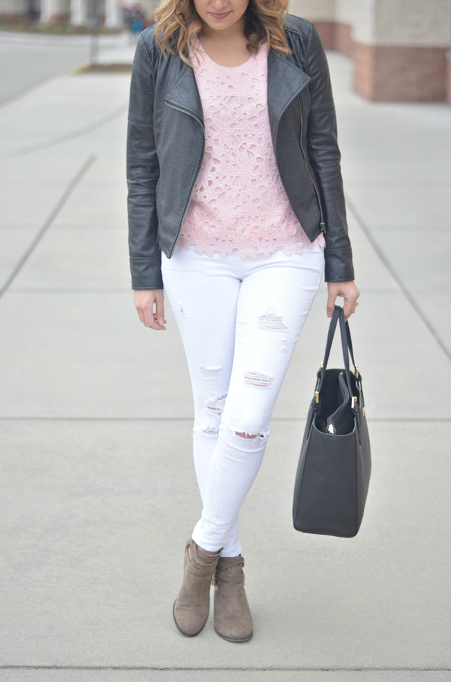 edgy with feminine - J.crew lace tee, leather moto jacket, distressed white jeans | www.fizzandfrosting.com