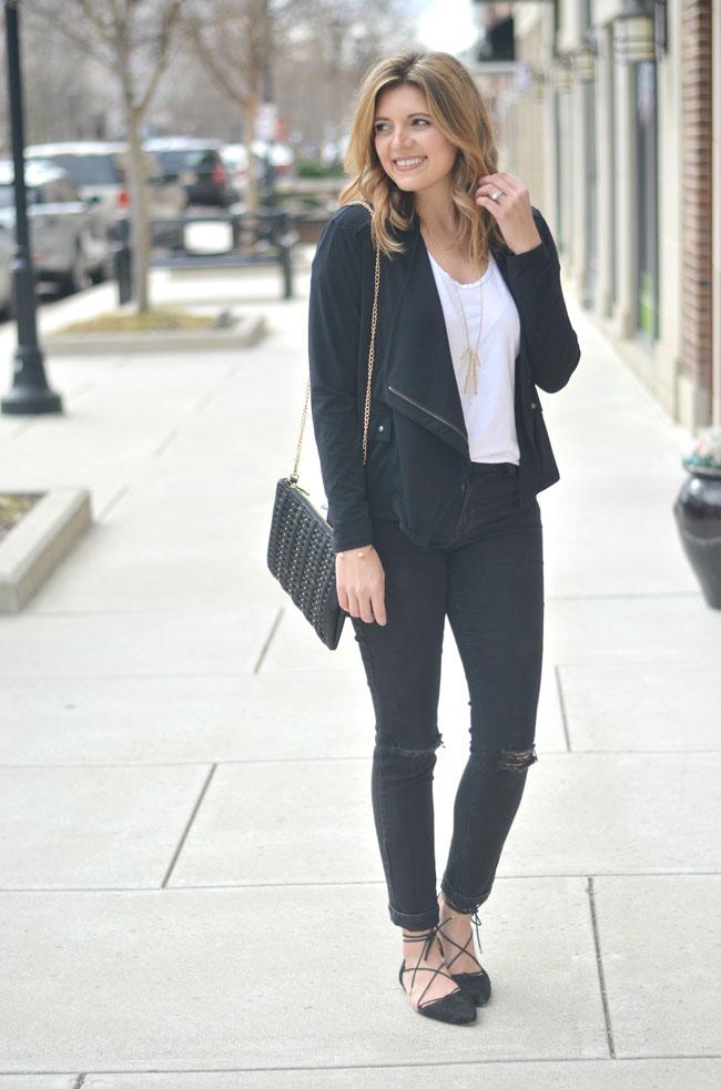 le tote review - jessica simpson draped jacket, black woven clutch bag | www.fizzandfrosting.com