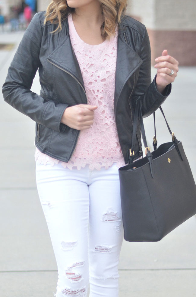 mix leather jacket with lace tee for Spring | www.fizzandfrosting.com