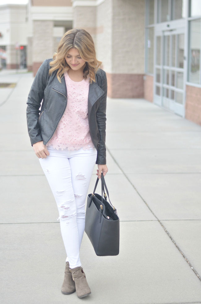 how to wear white distressed jeans for spring | www.fizzandfrosting.com