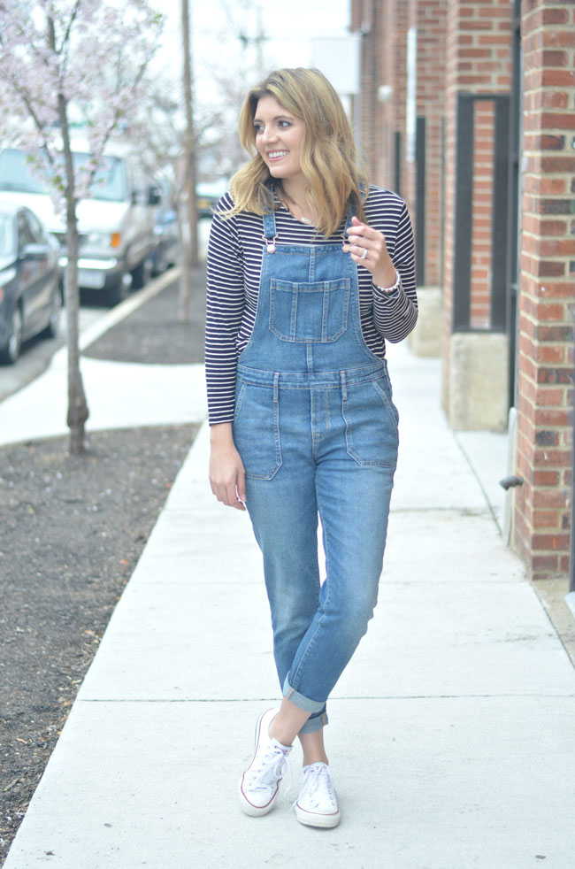 striped tee with overalls | www.fizzandfrosting.com