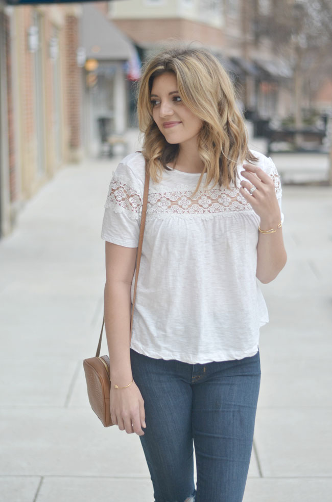 Cute Spring style - white lace inset tee, skinny jeans | www.fizzandfrosting.com