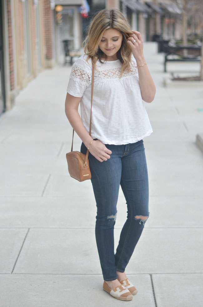 swing tee with distressed skinny jeans and Tory Burch espadrilles | www.fizzandfrosting.com