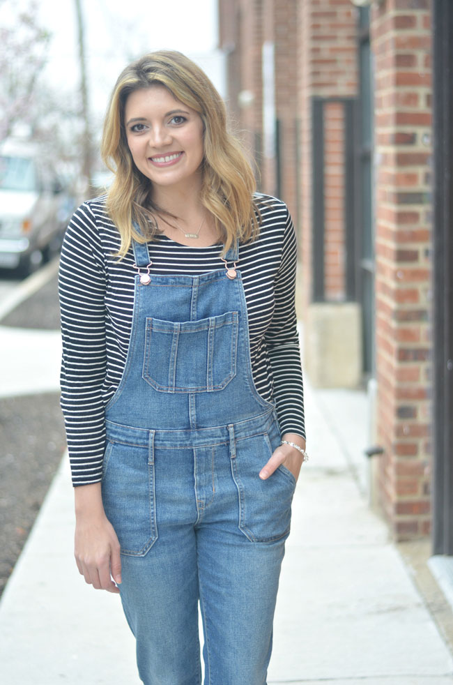 long sleeve striped tee with cropped overalls | www.fizzandfrosting.com
