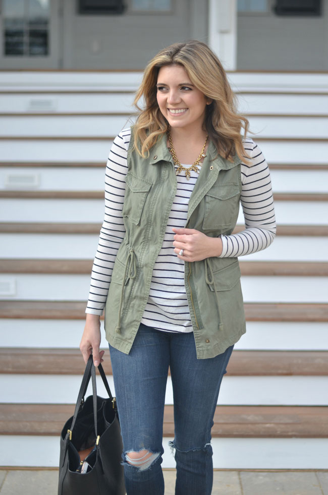spring style - striped tee with cargo vest | www.fizzandfrosting.com