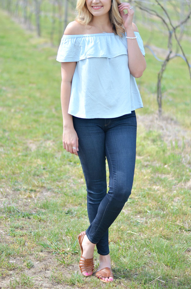 b289fc4297aee denim on denim for spring - off the shoulder chambray top