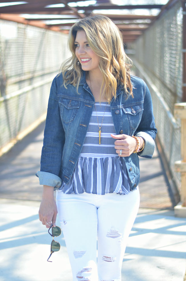 what to wear spring - denim jacket with striped top and white jeans | www.fizzandfrosting.com