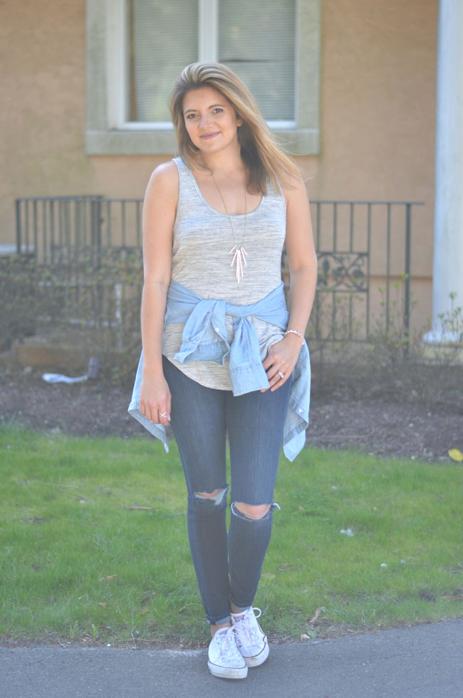 tank top with chambray tied at waist   www.fizzandfrosting.com