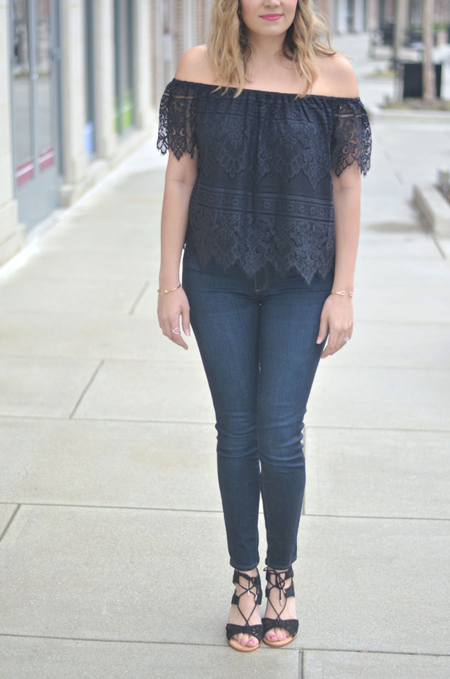 black lace off the shoulder top - spring style | www.fizzandfrosting.com