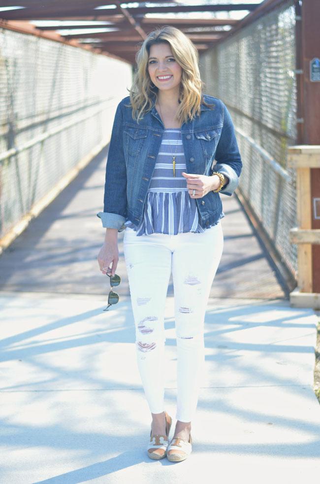 spring fashion - striped tank, denim jacket, white distressed jeans, espadrilles | www.fizzandfrosting.com