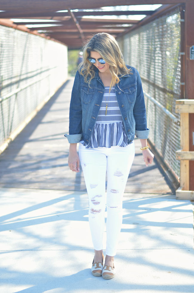 cute spring outfit - striped peplum tank, denim jacket, distressed white jeans | www.fizzandfrosting.com