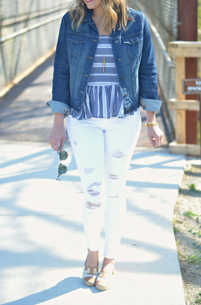 spring outfits - distressed white jeans with striped tank and denim jacket | www.fizzandfrosting.com