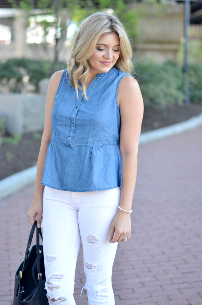 chambray peplum tank top with white distressed jeans | www.fizzandfrosting.com