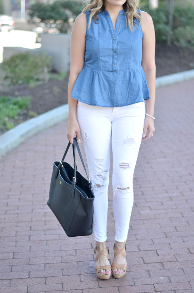 distressed white denim with chambray | www.fizzandfrosting.com