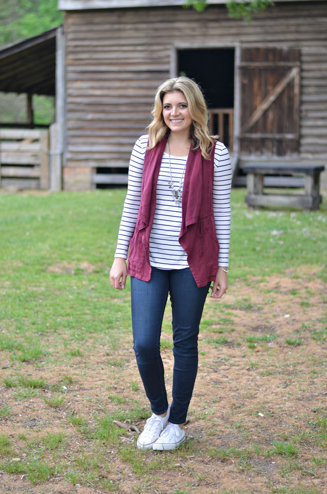 spring style - draped vest with striped sleeve | www.fizzandfrosting.com