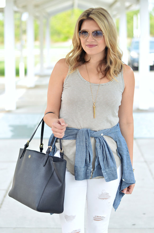 chambray tied at waist with striped tee | www.fizzandfrosting.com