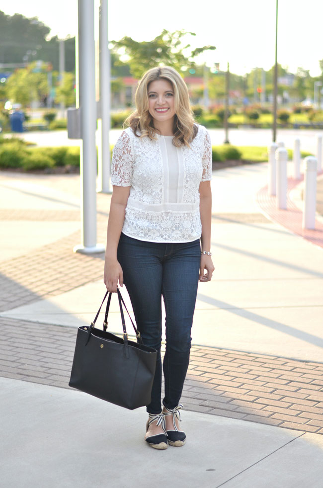 denim and lace for spring - lace top, dark wash skinny jeans, soludos espadrilles | www.fizzandfrosting.com