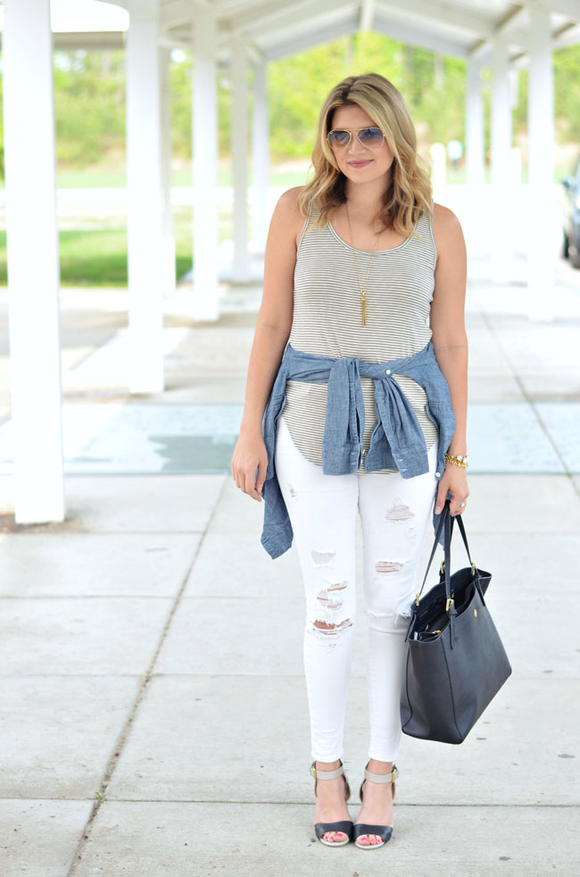 white distressed jeans, striped tank, chambray around waist