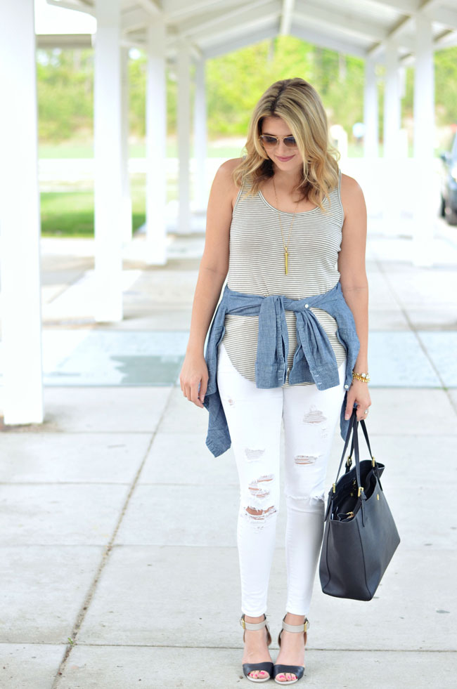 distressed white jeans with striped tank and chambray shirt tied around waist | www.fizzandfrosting.com