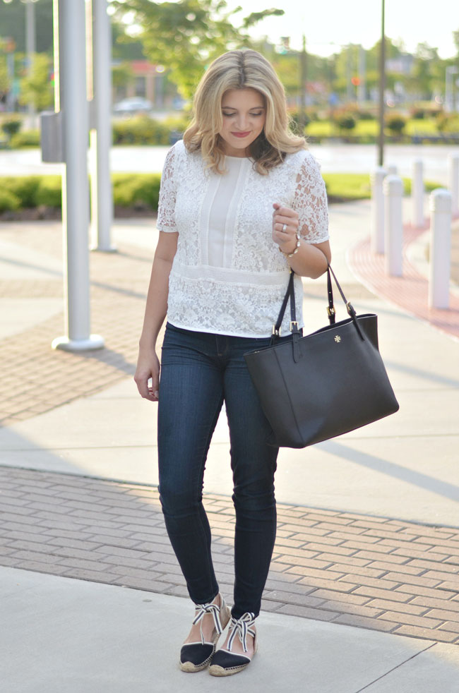 lace top, skinny jeans, lace up espadrilles | www.fizzandfrosting.com