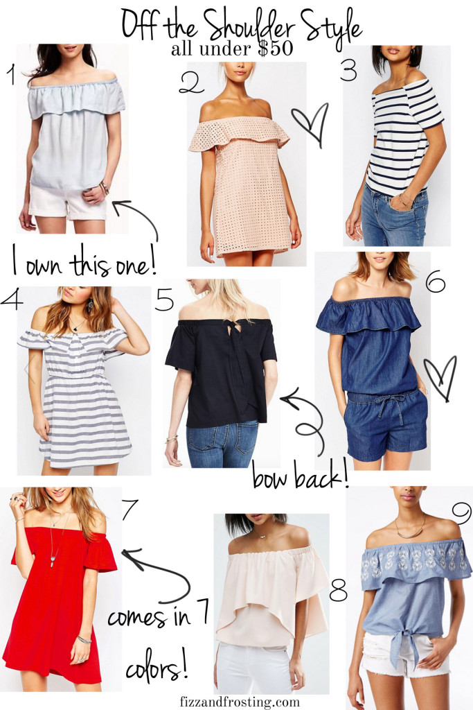 off the shoulder tops and dresses for under $50 | www.fizzandfrosting.com