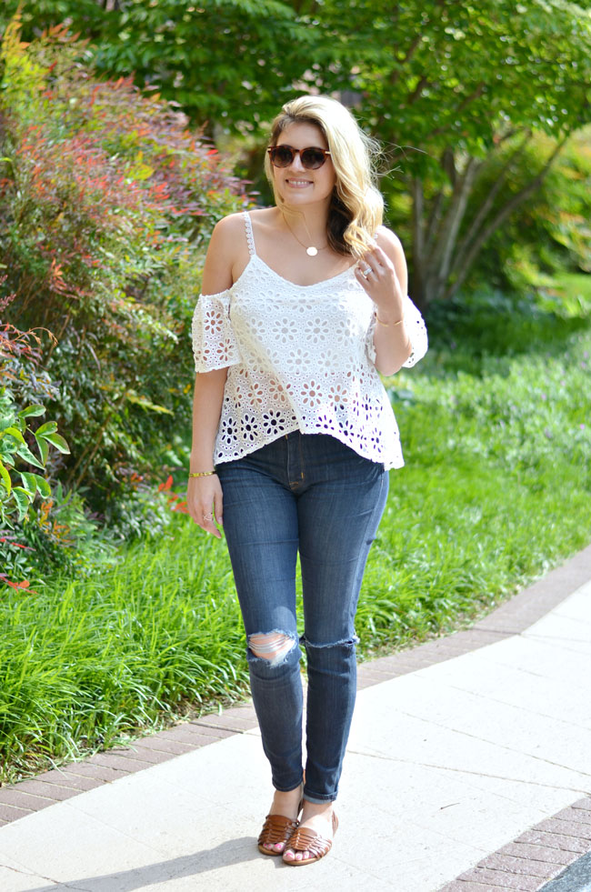 white off the shoulder top with distressed denim | www.fizzandfrosting.com