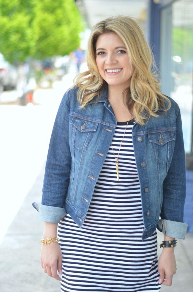 striped tshirt dress with jean jacket   www.fizzandfrosting.com