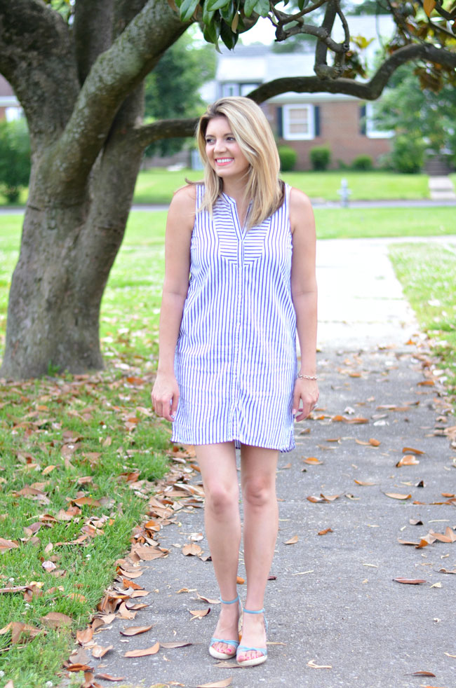 striped button down sundress for summer | www.fizzandfrosting.com