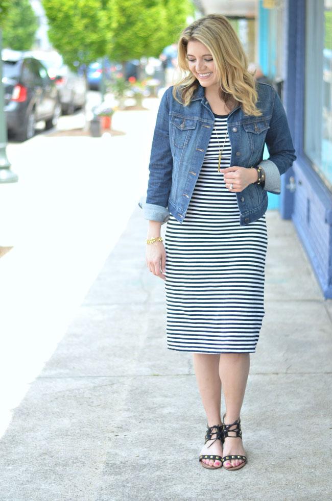 striped midi dress with a denim jacket   www.fizzandfrosting.com