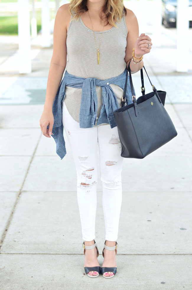 cute ways to wear white jeans - white jeans, army green striped tank, chambray around waist | www.fizzandfrosting.com
