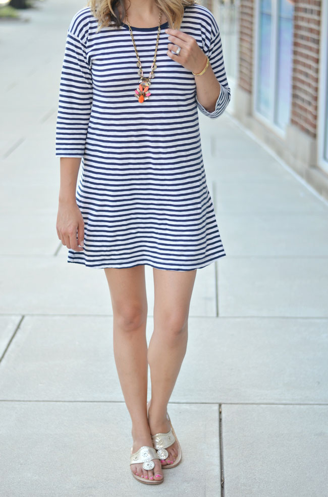 classic summer outfit - striped tshirt dress with coral pendant necklace and gold jack rogers | www.fizzandfrosting.com