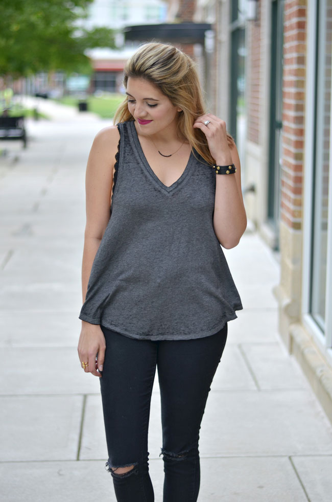 bralette for Summer - lace bralette with gray tank top and black skinny jeans | www.fizzandfrosting.com