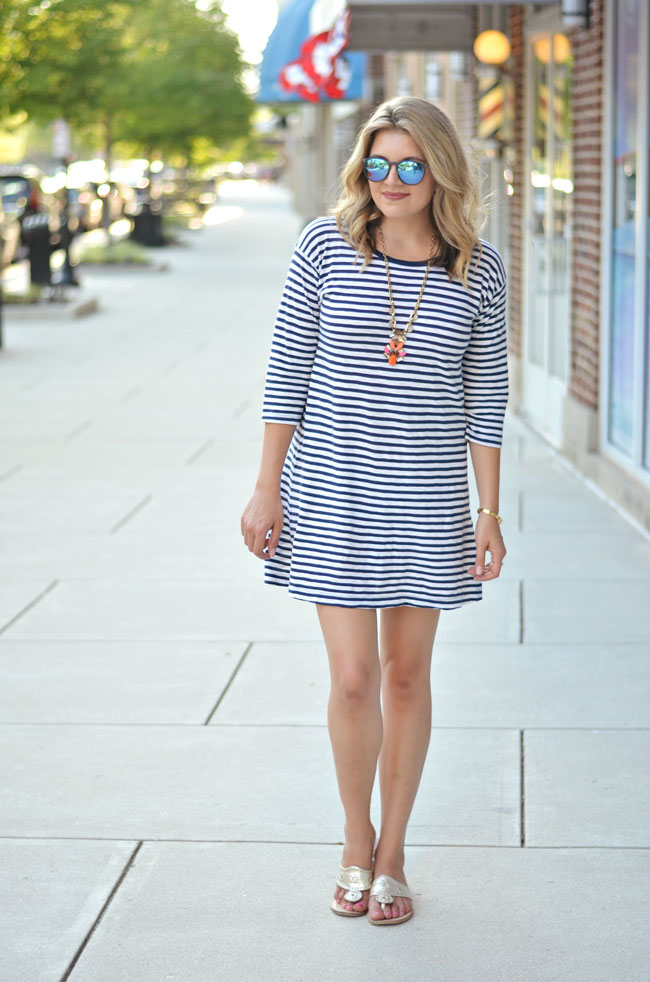 classic summer style - striped tshirt dress with platinum jack rogers | www.fizzandfrosting.com