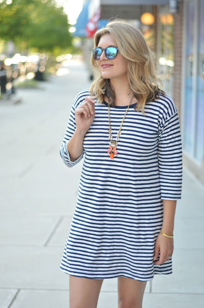 summer outfit - striped tshirt dress with coral pendant necklace | www.fizzandfrosting.com