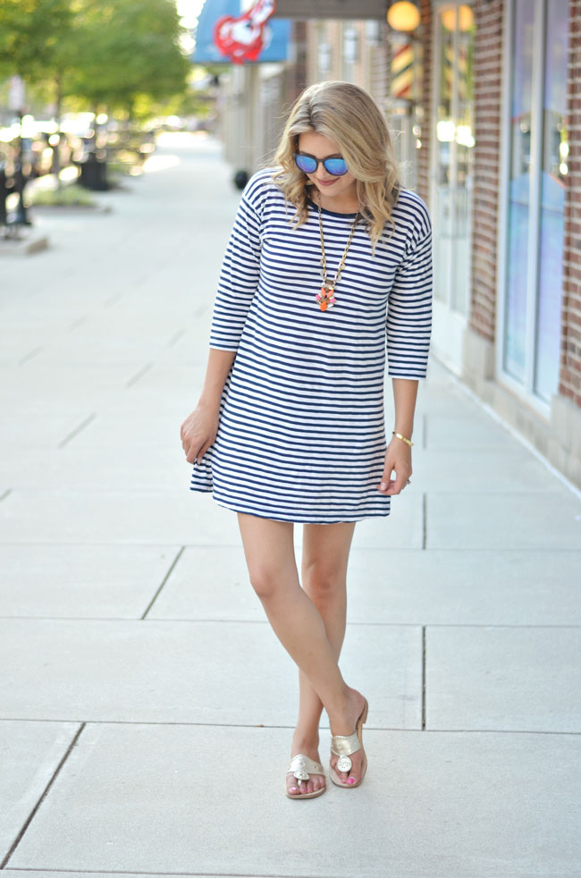 Preppy Summer style - J.Crew striped tshirt dress, platinum jack rogers | www.fizzandfrosting.com