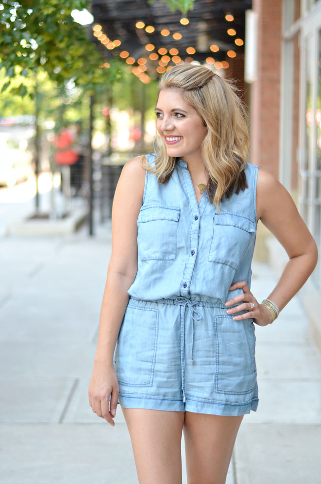 cute summer outfit - chambray romper | www.fizzandfrosting.com