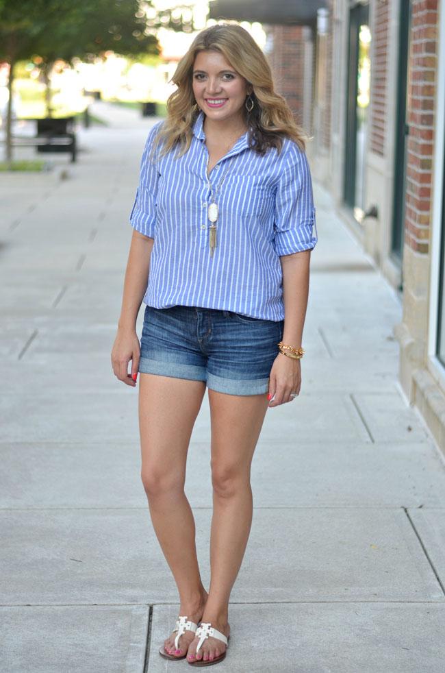 classic summer style - j.crew stripe popover, rolled denim shorts, white tory burch sandals | www.fizzandfrosting.com