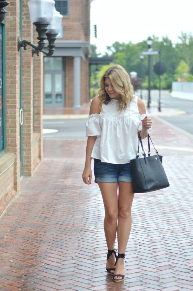 summer style - white cold shoulder ruffle top, rolled denim shorts, espadrilles   www.fizzandfrosting.com