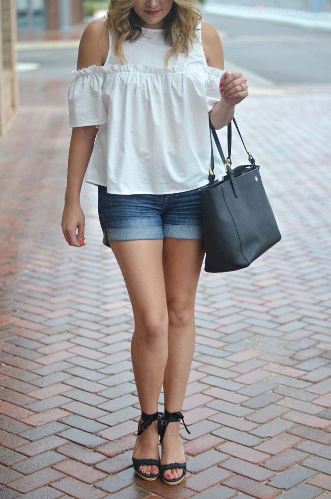 cute summer style - white ruffle open shoulder top with denim shorts and espadrilles   www.fizzandfrosting.com