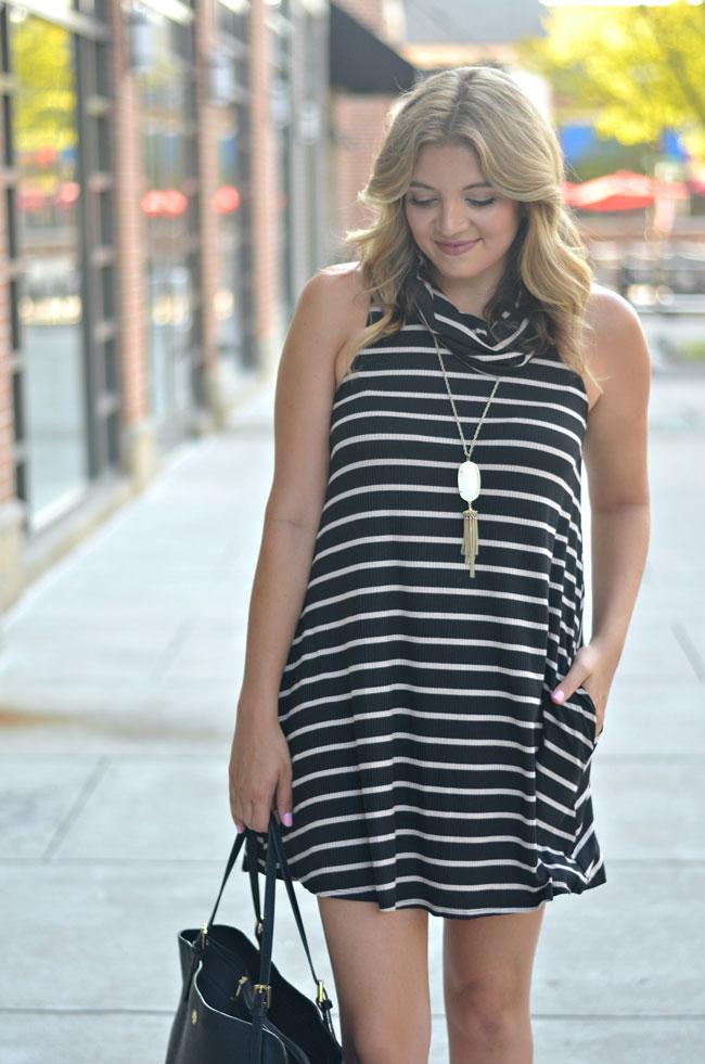 what to wear early fall - striped swing dress | www.fizzandfrosting.com