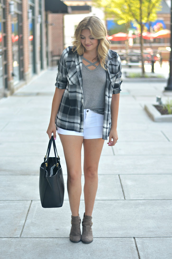 early fall outfit - plaid with shorts and booties | www.fizzandfrosting.com