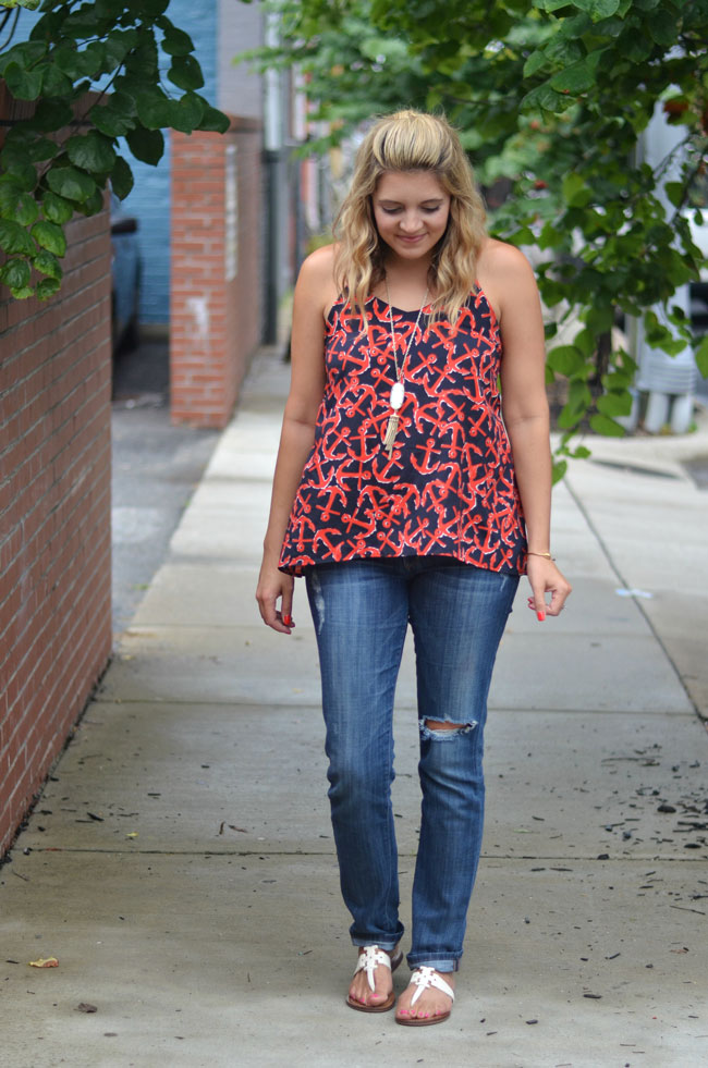 preppy summer style - nautical top, distressed jeans. white sandals | www.fizzandfrosting.com