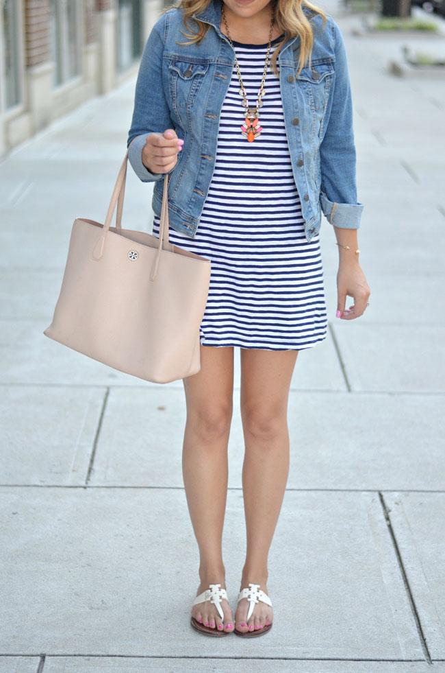 how to wear a striped tee dress   www.fizzandfrosting.com