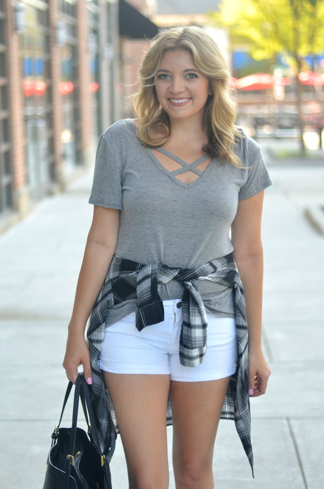how to wear plaid for summer - plaid top and white shorts   www.fizzandfrosting.com
