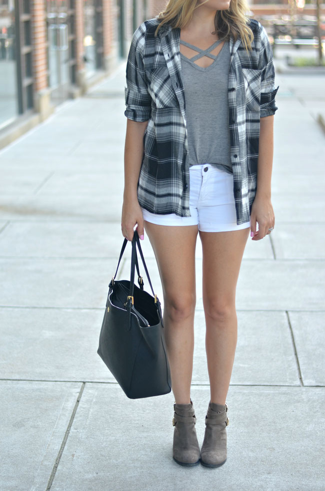 black plaid top with shorts and booties for summer | www.fizzandfrosting.com