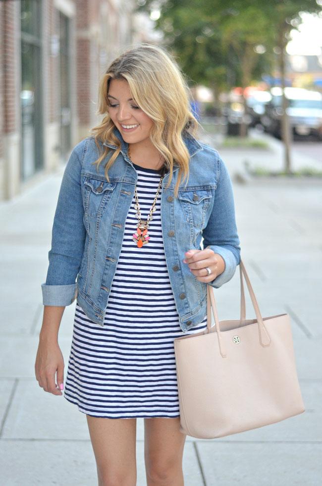 cute, preppy summer outfit - striped dress with denim jacket   www.fizzandfrosting.com