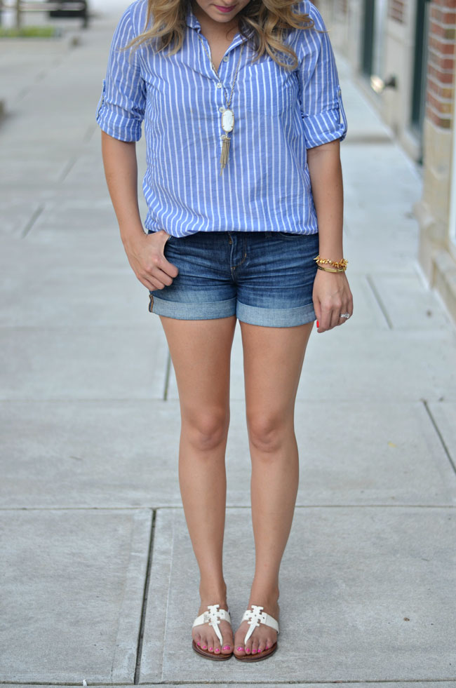 preppy summer outfit - striped popover, denim shorts, tory burch sandals | www.fizzandfrosting.com