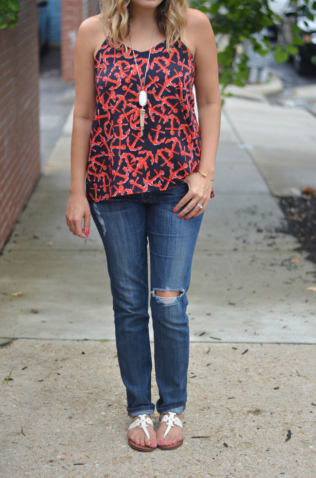 all-american outfit - anchor print top with distressed jeans and white tory burch sandals | www.fizzandfrosting.com